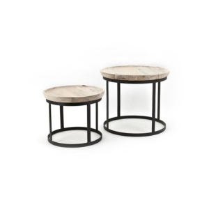 Coffee Table Set Wood/Metal By Boo Bergsma Meubelen Friesland Gorredijk